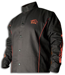 Black Stallion Black with Red Flames Cotton Welding Jacket L